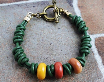 Mookaite and Green Leather Bracelet for Women, Hand Braided with Natural Stone, Boho, Gypsy, Tribal