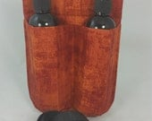 Massage Therapy Double lotion bottle hip holster, Rust patina print, black belt