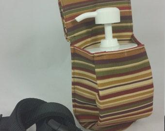 Massage Therapy 8oz cream jar couch hip holster, Autumn stripes, canvas, black belt