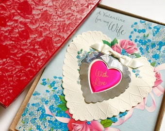 Vintage 1950s Oversized Valentine's Day Card to Wife Used  / Embossed 3D Heart Satin Bow Collectible Ephemera Scrapbook Mixed Media Supply