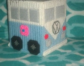 Handmade Baby Blue VW Van Tissue Box Cover Plastic Canvas