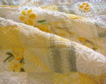 SOFT SUNBEAM Handmade Vintage Cotton Chenille Patchwork Quilt