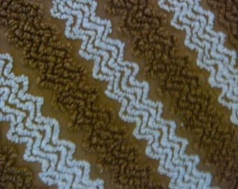 Cabin Crafts Chocolate Brown and White Zigzag Vintage Cotton Chenille Fabric 18 x 24 Inches