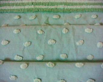 Mint Green Cabin Crafts Pops Vintage Cotton Chenille Bedspread Fabric 18 x 24 Inches