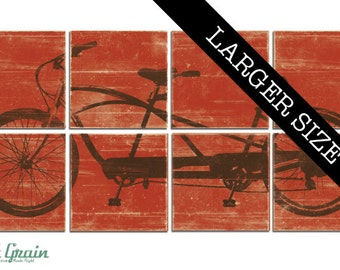 EXTRA Large Tandem Bicycle Wall Art - Large Bike Decor - Custom Made Print Collection 32x64