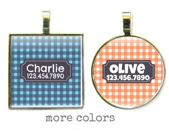 Gingham Plaid Pet ID Tag