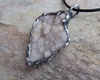 Raw crystal necklace -  ethical sourced Quartz crystal jewelry / uncut drusy quartz jewellery handmade in Australia