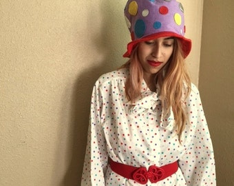 COOKIE CLOWN / Vintage Multicolor Polka Dot Blouse / HOBO Clown Halloween Costume / Womens Large