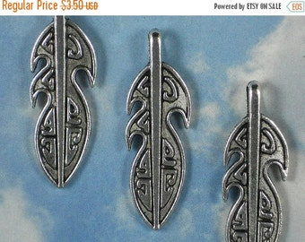 SALE 5 Big Feather Pendants Pacific Northwest Totem Beads 47mm Silver  (P654)
