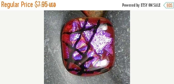 SALE OOAK Button Dichroic Glass Focal Fused Cranberry Violet Magenta