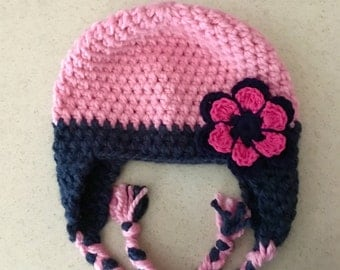 Newborn Child Hat PINK and Navy Hat, Girl, Baby Hat, Flower BEANIE, Ear Flaps, Braids, Soft, Warm, Baby Gifts, Gifts for Girls JE475BEF5