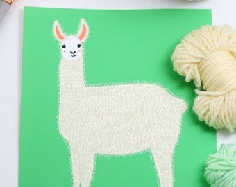 Llama Art Print, Llama Nursery Art, Llama Wall Decor, Alpaca Print, Gender Neutral Decor, Animal Prints, Magical Nursery, Kids Art