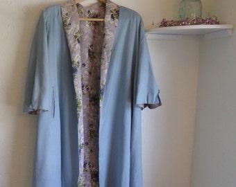 ON SALE 50% OFF Vintage 1960s Floral satin lined spring overcoat, lightweight linen jacket