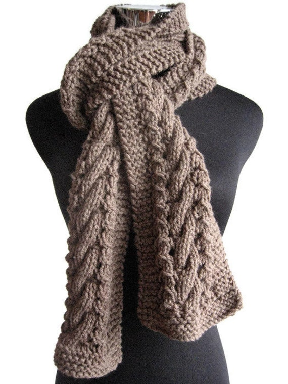Taupe Hand Knit Scarf Knit Mens Accessory Heather by KnitsByNat
