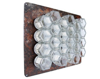 Rustic Hanging Spice Rack:  DIY Kit with 24 Magnetic Jars & Naturally Rusted Steel Wall Plate.