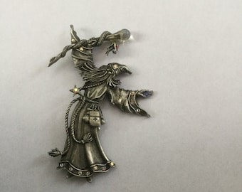 Vintage JJ Jonette Wizard Sorcerer with Snake Pin