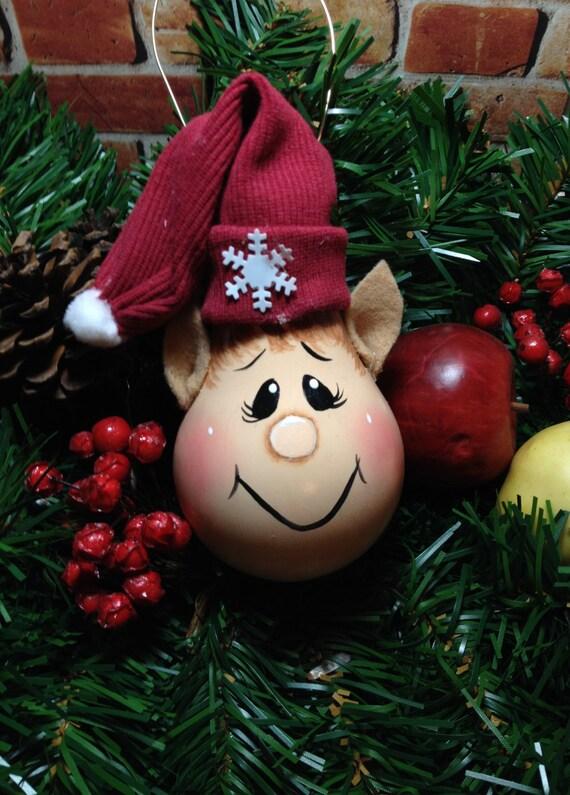 Hand Painted Light Bulb Elf Ornament/ Handmade Elf Ornament