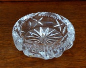 Vintage Crystal Ashtray Lead Glass Deep Cut Thick Trinket Dish
