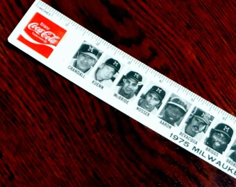 Vintage Milwaukee Brewers Photo Ruler Plastic Coca Cola White Hen Pantry Aaron Yount Thomas Kuehn 1975