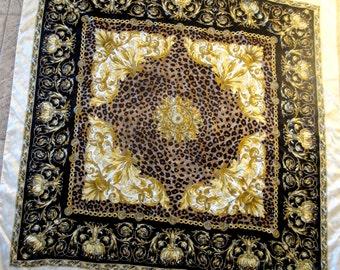 Vintage Scarf Shawl Oversized Leopard Print Gold Scrolls Black Brown Gold Flowing Leaves