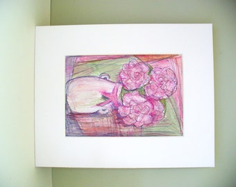 Peony Still Life Drawing White Vase Wedding Gift Floral Watercolor
