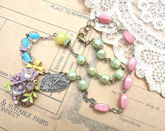 spring necklace assemblage enamel flower trucker wife upcycled vintage jewelry pin cottage chic