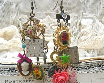 mismatch mosaic earring assemblage cameo guilloche heart watch face