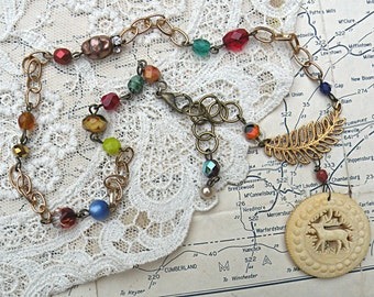hunting necklace stag assemblage petite pendant repurpose upcycled jewelry
