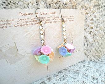 earrings pastel spring flower ball stick assemblage