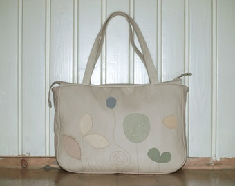 Ivory Leather Bag Purse, floral tote, leather floral bag womens Laptop Bag, summer purse Travel briefcase, diaper bag, xl luggage
