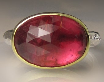 Rose Cut Cherry Tourmaline Ring, 18k Gold and Sterling Silver Pink Tourmaline Cabochon Ring