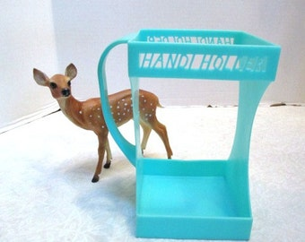 Vintage 1950's Evlo Plastics Handi Holder 1/2 Gallon Carton Holder Turquoise Aqua Pitcher, Juice or Milk Carton Server