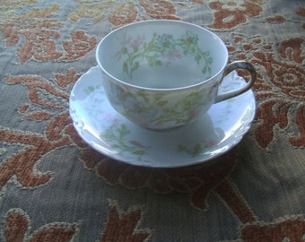 Antique Haviland & Co Limoges France Teacup Saucer Set, ONE of 11  Available, Backstamp 1894-1931 , Fine French Porcelain