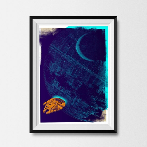 Star Wars, Print, Inspired, Star Wars Print, Death Star, A3, Millennium Falcon, Star Wars Poster, Star Wars Gift, Scifi Art