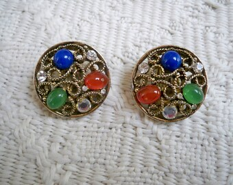 Vintage Jewelry Earrings Clip on Earrings Costume Jewelry Colorful earrings