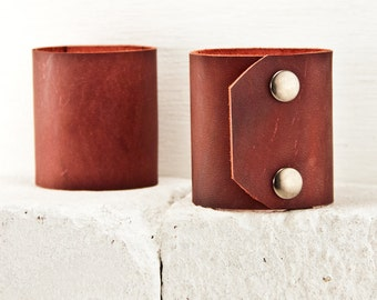 Leather Cuffs Bracelets Wristbands - Simple Subtle Wide Wrist Cuff With Metal Snaps - Gifts for Valentine's Day