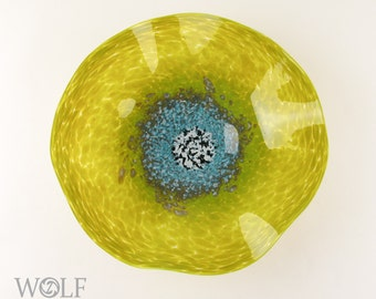 MADE TO ORDER Blown Glass Wall Art Bright Olive Green with Turquoise Poppy Wall Hanging Decorative Art Glass Sculpture