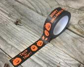 SUMMERTIME SALE Washi Tape - 15mm - Orange Jack-O'-Lanterns and Candy on Black - Deco Paper Tape No. 1170