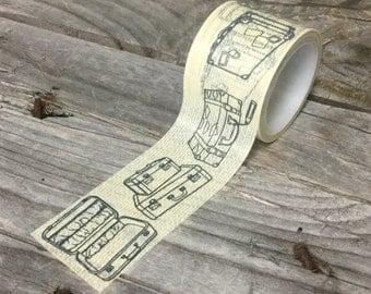 Washi Tape - 30mm - Black Luggage on Cream Texture - Deco Paper Tape No. 1150