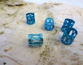 Blue Metal Filigree Hair Bead Large Hole Dreadlock Accessories Dread Accent Boho Hippie Bling Decorate your dreadlocks or extensions.
