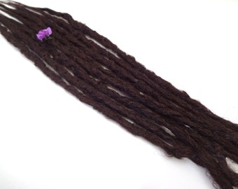 8 Dark Plum synthetic dreads. Synthetic dreads, dreadlocks, dreads, synthetic dreadlocks, dreadlock extensions, long thin single ended