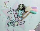 clip planner agenda pastel star fairy kei clay