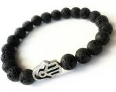 Lava Hamsa Bracelet  Men Black Lava Bracelet  Stone Bracelet Stacks  Yoga bracelet  Tribal Chic Elastic Beaded Bracelet stack Unisex