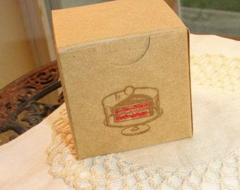 Red Velvet Cake Mini Kraft Favor Boxes Set of 6