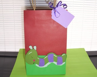 caterpillar favor bags, bug party bags, birthday party favor bags