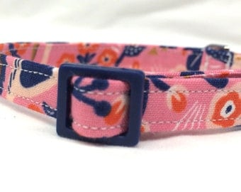 Rifle Paper Co. Cat Collar Les Fleurs Fabric Tapestry Rose Pink Blue