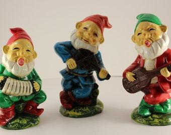 Vintage Garden Gnomes K.N. Japan Set of 3 Playing Musical Instruments