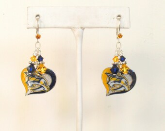 Nashville Predators Heart and Soul for Stanley, Predators Bling, Navy and Gold Pro Hockey Earrings, Preds Ice Hockey Accessory