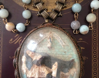 Antique  French Religious Meerschaum Pendant Necklace, Hand Carved Death of Sister Bernadette Assemblage