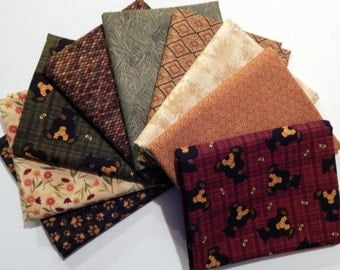 NEW Bear Paws Quilt Craft Fabric Bundle of 9 Fat Quarters - Red Bears, Golds & Greens